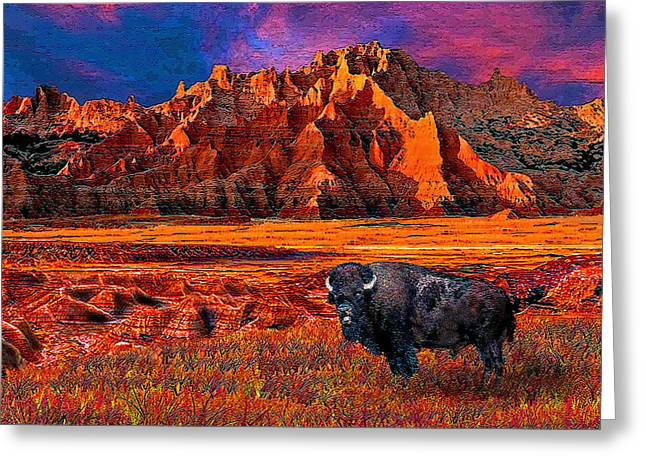 Oglala Lakota Art Greeting Cards - Badlands Bison American Icon Greeting Card by Michele  Avanti