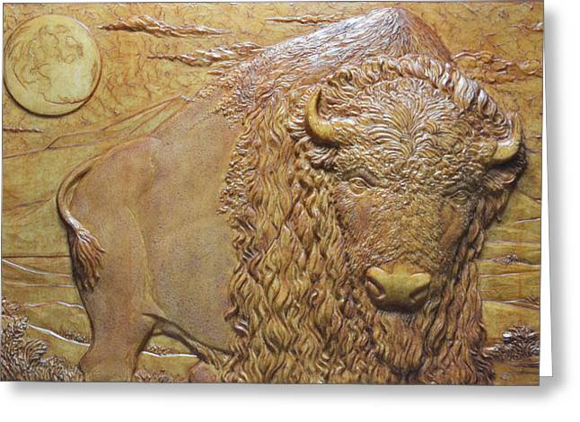 Buffalo Reliefs Greeting Cards - Badlands Bull Greeting Card by Jeremiah Welsh