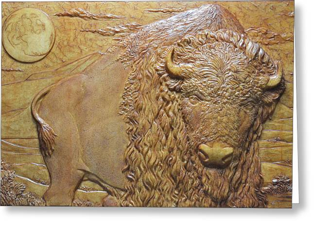 Bison Reliefs Greeting Cards - Badlands Bull Greeting Card by Jeremiah Welsh