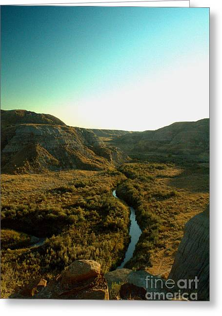 Dinosaur Provincial Park Greeting Cards - Badlands Coulee Greeting Card by Matthew Naiden