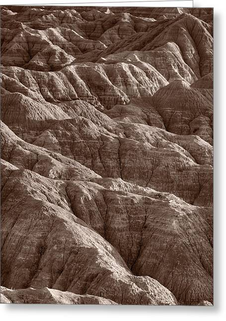 Desert Photographs Greeting Cards - Badlands Light BW Greeting Card by Steve Gadomski