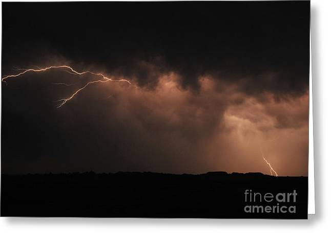 Badlands Lightning Greeting Card by Chris  Brewington Photography LLC