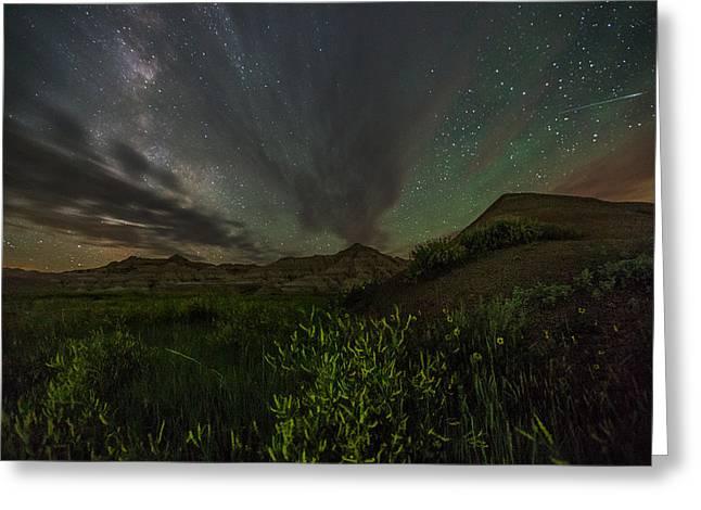Badlands National Park Greeting Cards - Badlands Meteor Greeting Card by Aaron J Groen