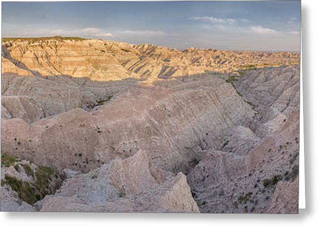 Pastel Pink Greeting Cards - Badlands National Park Color Panoramic Greeting Card by Adam Romanowicz