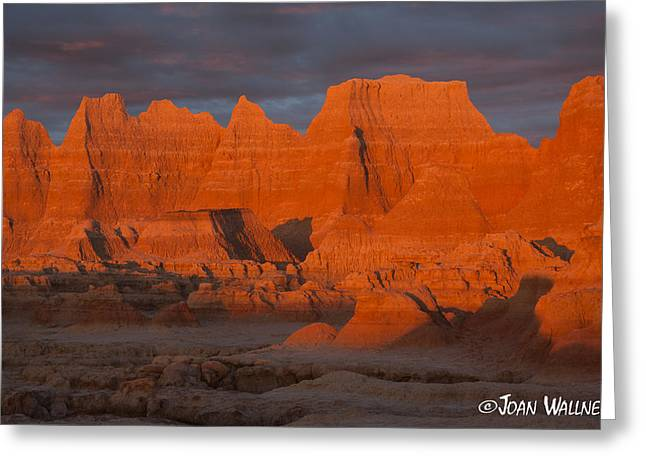 Shades Of Red Greeting Cards - Badlands red rock sunrise Greeting Card by Joan Wallner
