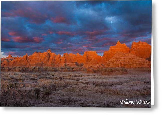 Shades Of Red Greeting Cards - Badlands rugged beauty Greeting Card by Joan Wallner