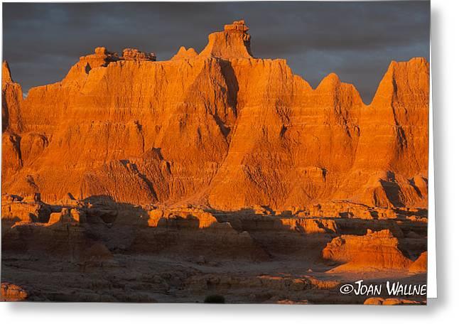 Shades Of Red Greeting Cards - Badlands sunrise Greeting Card by Joan Wallner