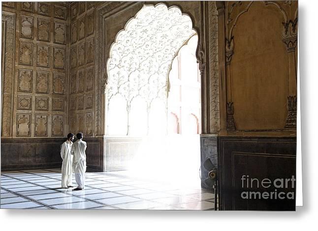 Punjab Greeting Cards - Badshahi mosque interior in Lahore Pakistan Greeting Card by Robert Preston