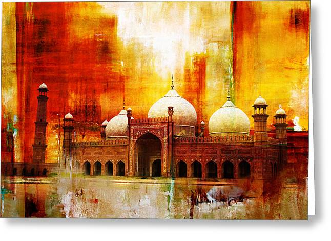 Akbar Shahjahan Greeting Cards - Badshahi Mosque or The Royal Mosque Greeting Card by Catf