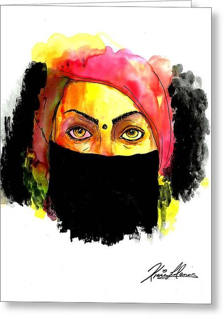 Abstract Hijab Greeting Cards - Baduism Greeting Card by Kiana Llanos