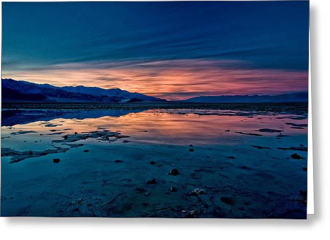 Landscape. Scenic Greeting Cards - Badwater Sunset Greeting Card by Cat Connor