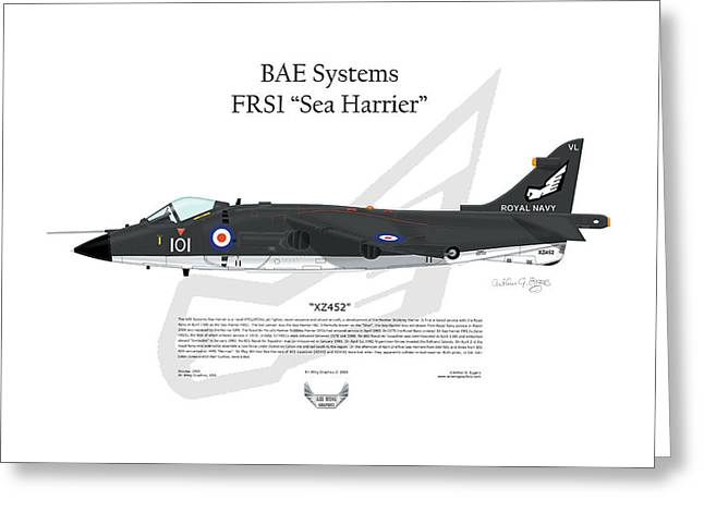 Squadron Graphics Greeting Cards - BAE Systems FRS1 Sea Harrier Greeting Card by Arthur Eggers