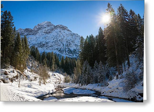 Snow-covered Landscape Greeting Cards - Baergunt valley in Kleinwalsertal Austria in winter Greeting Card by Matthias Hauser