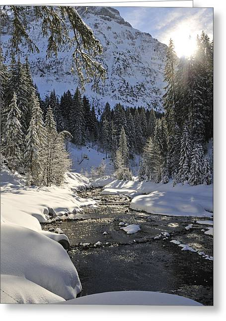 Snow-covered Landscape Greeting Cards - Baergunt valley Kleinwalsertal Austria in winter Greeting Card by Matthias Hauser
