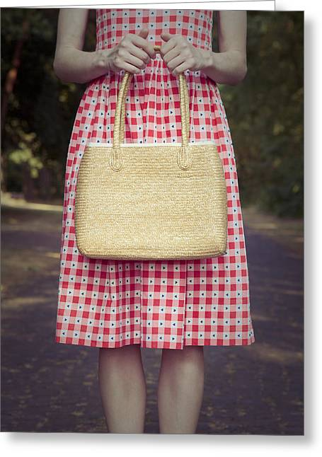 Lonelyness Greeting Cards - Bag in her Hands Greeting Card by Maria Heyens