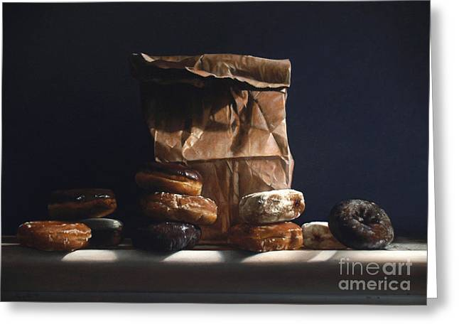 Pastries Greeting Cards - Bag Of Donuts Greeting Card by Larry Preston