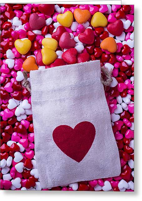 Bag Greeting Cards - Bag with heart candy Greeting Card by Garry Gay
