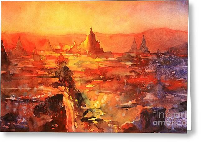 Watercolor Society Greeting Cards - Bagan Ruins Greeting Card by Ryan Fox