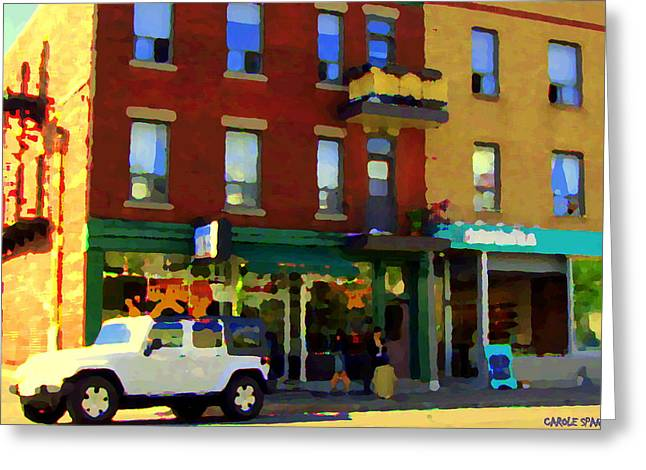 Tea For Two Greeting Cards - Bagels And Tea St Viateur Bakery And Davids Tea Room Montreal City Scenes Art Carole Spandau Greeting Card by Carole Spandau