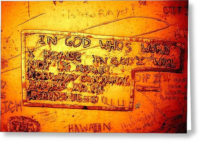 Baghdad Greeting Cards - Baghdad Graffiti Greeting Card by John Quigley