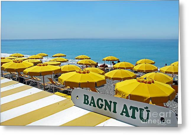Imperia Greeting Cards - Bagni Atu.Bordighera.Italy Greeting Card by Jennie Breeze