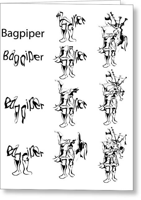 Morphing Greeting Cards - Bagpiper Process Greeting Card by Michael Lee