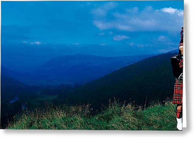Playing Musical Instruments Greeting Cards - Bagpiper Scottish Highlands Scotland Greeting Card by Panoramic Images