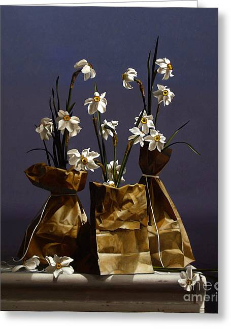 Narcissus Greeting Cards - Bags Of Narcissus Greeting Card by Larry Preston