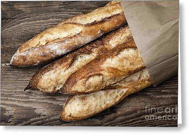 Bread Loaf Greeting Cards - Baguettes bread Greeting Card by Elena Elisseeva