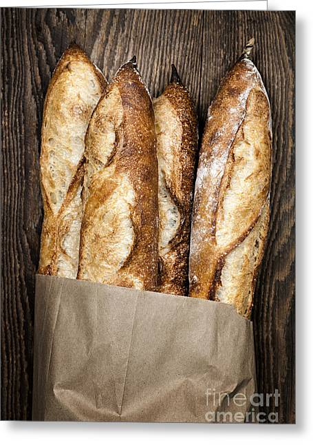 Bread Greeting Cards - Baguettes  Greeting Card by Elena Elisseeva