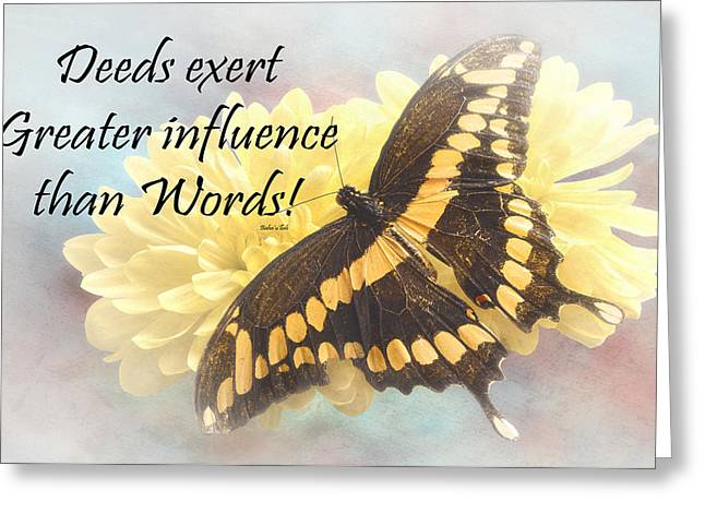 Bahai Butterfly Quote Greeting Card by Rudy Umans