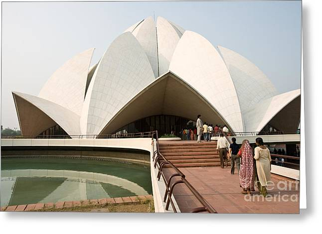 Magnificient Flowers Greeting Cards - Bahai Temple - New Delhi - India Greeting Card by Luciano Mortula
