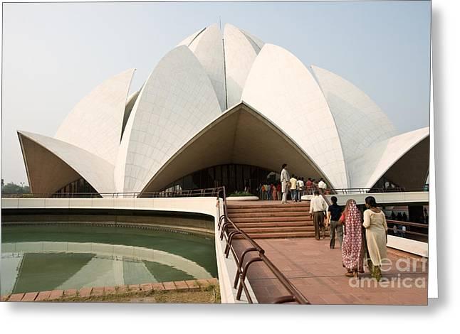 Nandi Greeting Cards - Bahai Temple - New Delhi - India Greeting Card by Luciano Mortula