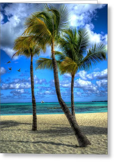 Yellow Sailboats Digital Art Greeting Cards - Bahama Breeze Greeting Card by Paul Wear