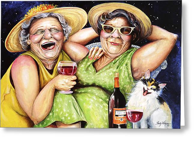 Wine-bottle Greeting Cards - Bahama Mamas Greeting Card by Shelly Wilkerson