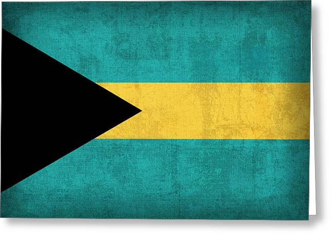 Island Mixed Media Greeting Cards - Bahamas Flag Vintage Distressed Finish Greeting Card by Design Turnpike