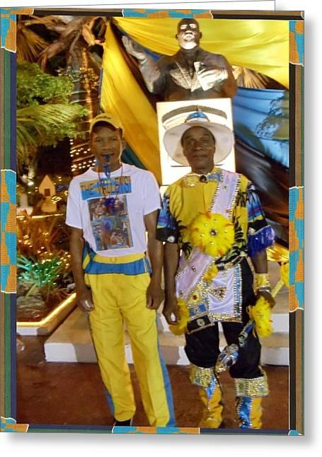 Bahamas Junkanoo Men Greeting Card by Linda Cousins-Newton