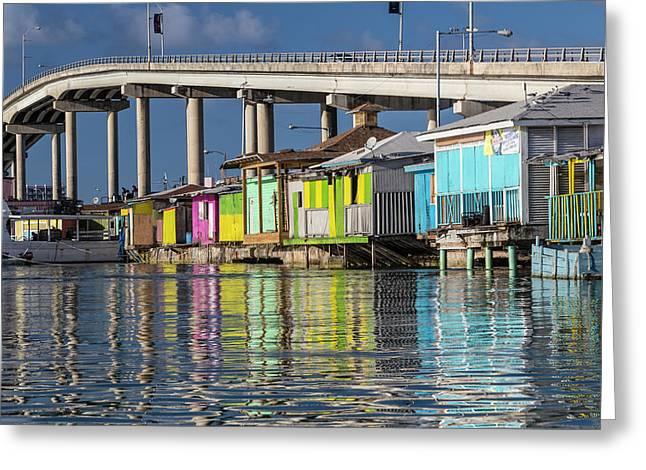 Bahamas, Nassau Vendors' Shacks Greeting Card by Jaynes Gallery