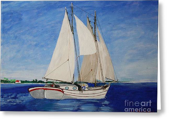 Tall Ships Mixed Media Greeting Cards - Bahamas Trading Schooner Greeting Card by Bill Hubbard