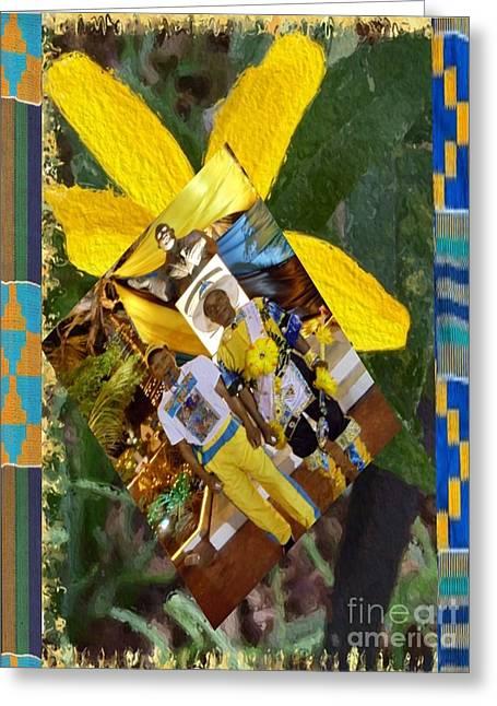 Bahamian Junkanoo Men With Yellow Brooklyn Flower Greeting Card by Linda Cousins-Newton