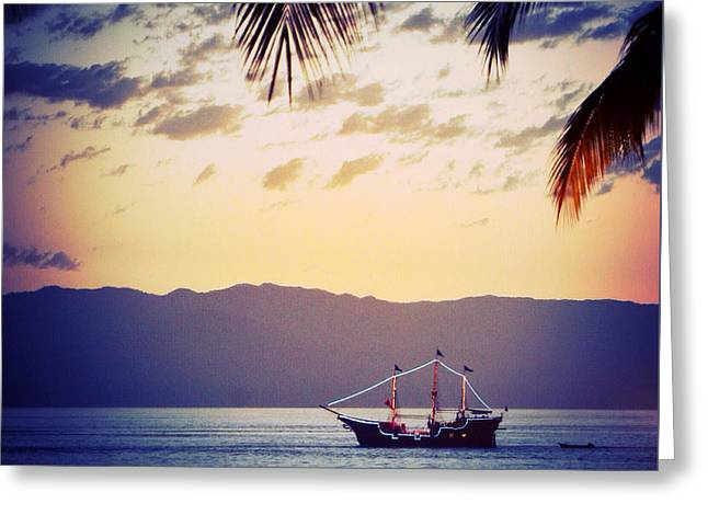 Pirate Ship Greeting Cards - Bahia de Banderas Greeting Card by Natasha Marco