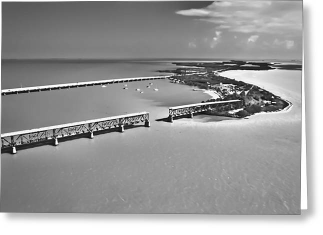 Railroad Bridge Greeting Cards - Bahia Honda BW Greeting Card by Patrick M Lynch