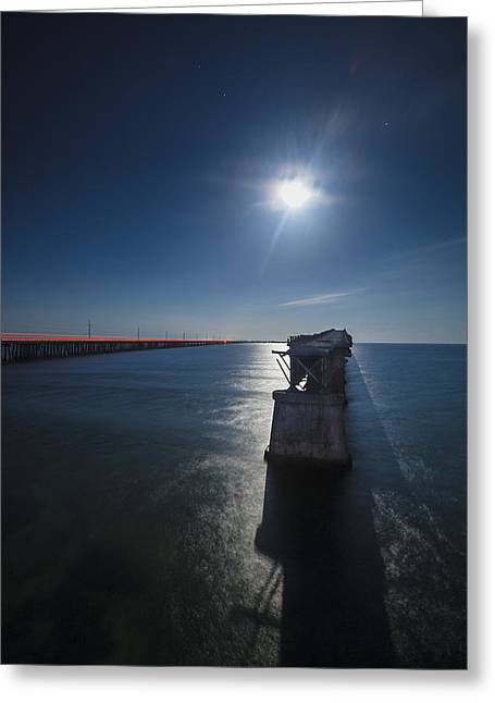 Overseas Railway Greeting Cards - Bahia Honda By The Moonlight Greeting Card by Dan Vidal