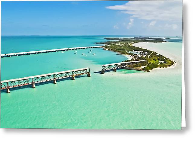 Railroad Bridge Greeting Cards - Bahia Honda Greeting Card by Patrick M Lynch