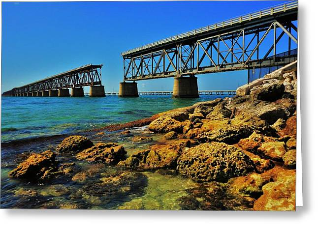 Railroad Bridge Greeting Cards - Bahia Honda Rail Bridge Greeting Card by Benjamin Yeager