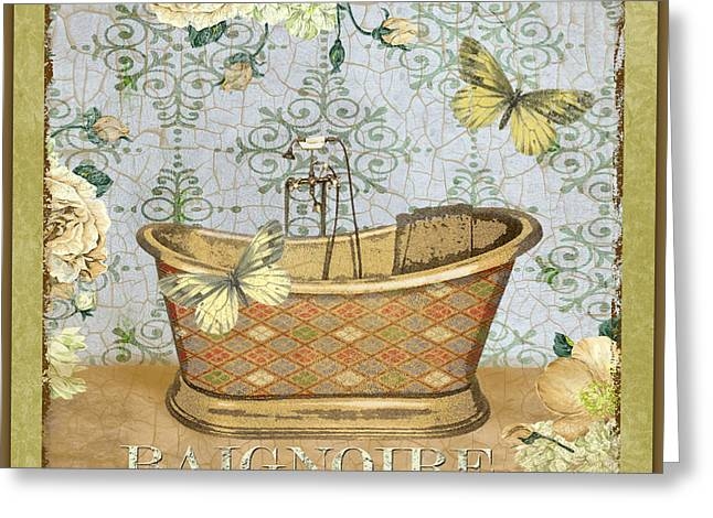 Vine Leaves Greeting Cards - Baignoire Beauty Greeting Card by Jean Plout