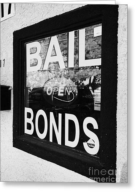 U.s. Open Photographs Greeting Cards - bail bonds open sign in a window Las Vegas Nevada USA Greeting Card by Joe Fox