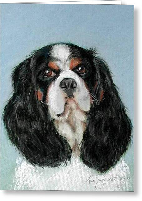 Spaniel Pastels Greeting Cards - Bailey the Cavalier King Charles Spaniel Greeting Card by Lenore Gaudet