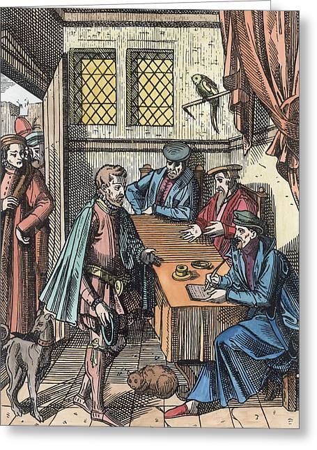 Clerk Greeting Cards - Bailliage, Or Tribunal Of The Kings Greeting Card by Dutch School