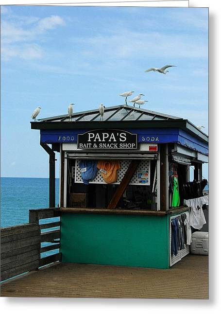 Fishing Bait Shop Greeting Cards - Bait And Snack Shop Greeting Card by Mel Steinhauer